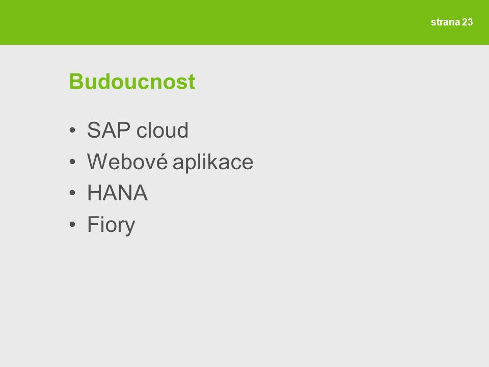 strana 23 Budoucnost SAP cloud Webové aplikace HANA Fiory