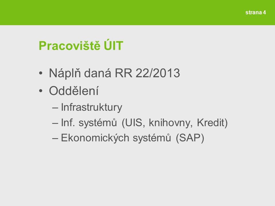strana 4 Pracoviště ÚIT Náplň daná RR 22/2013 Oddělení –Infrastruktury –Inf.