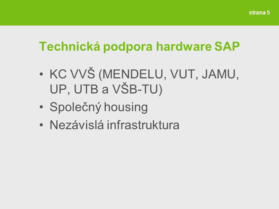 strana 5 Technická podpora hardware SAP KC VVŠ (MENDELU, VUT, JAMU, UP, UTB a VŠB-TU) Společný housing Nezávislá infrastruktura
