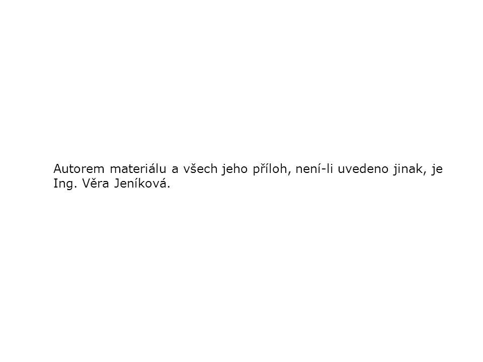Autorem materiálu a všech jeho příloh, není-li uvedeno jinak, je Ing. Věra Jeníková.