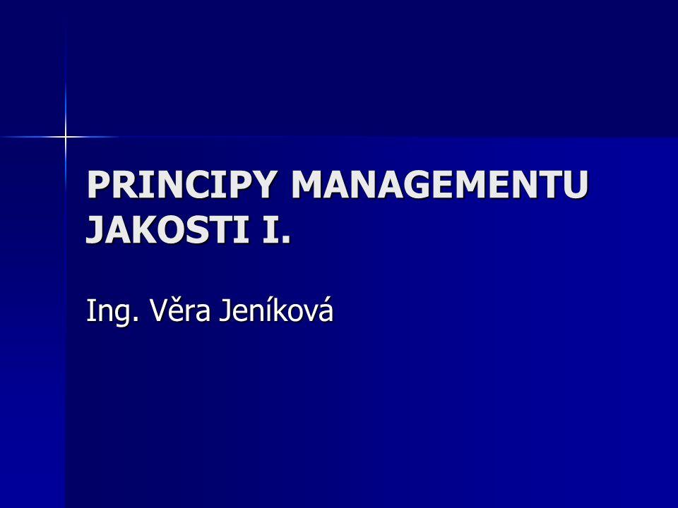 PRINCIPY MANAGEMENTU JAKOSTI I. Ing. Věra Jeníková