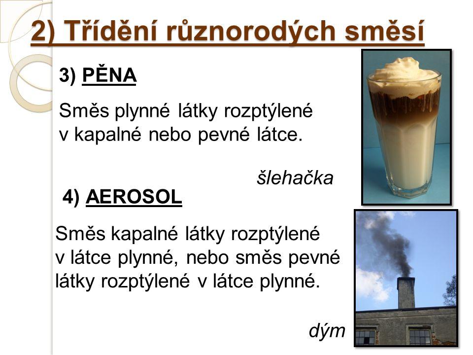 2) Třídění různorodých směsí 3) PĚNA Směs plynné látky rozptýlené v kapalné nebo pevné látce.
