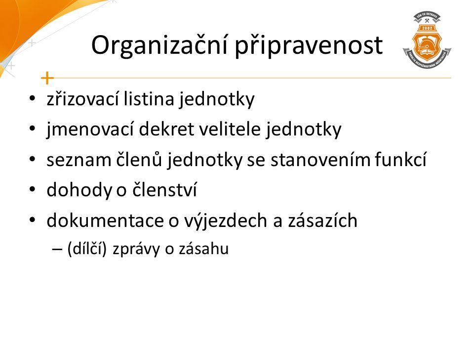 Organizační připravenost zřizovací listina jednotky jmenovací dekret velitele jednotky seznam členů jednotky se stanovením funkcí dohody o členství dokumentace o výjezdech a zásazích – (dílčí) zprávy o zásahu