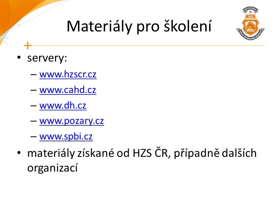 Materiály pro školení servery: – www.hzscr.cz www.hzscr.cz – www.cahd.cz www.cahd.cz – www.dh.cz www.dh.cz – www.pozary.cz www.pozary.cz – www.spbi.cz www.spbi.cz materiály získané od HZS ČR, případně dalších organizací