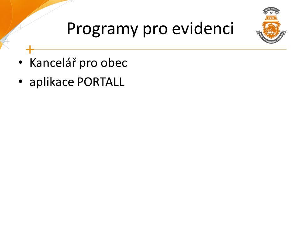 Programy pro evidenci Kancelář pro obec aplikace PORTALL