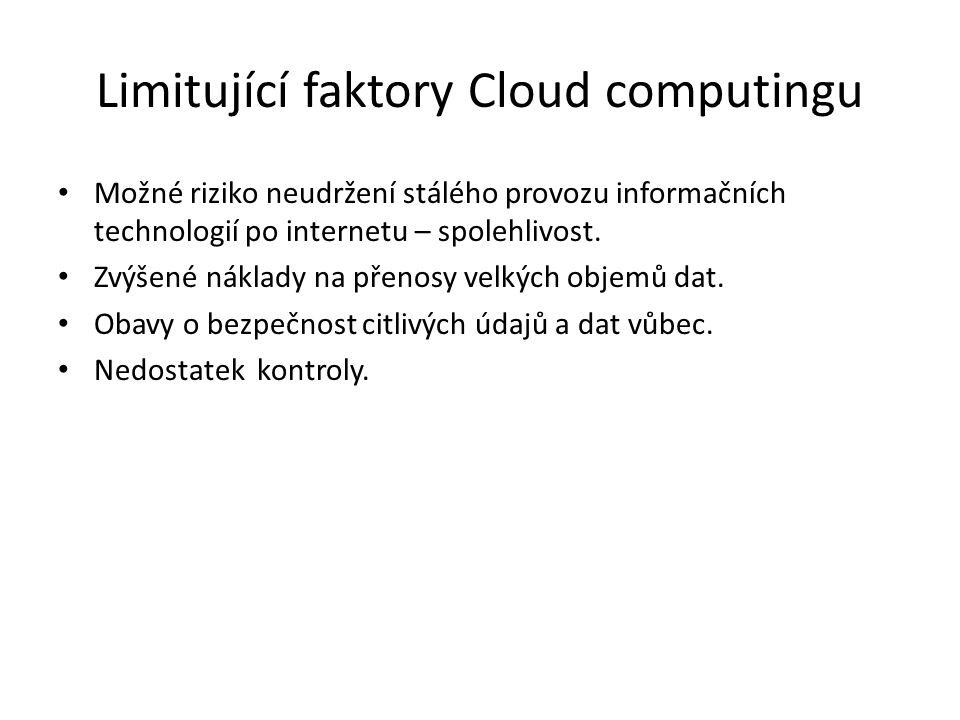 Limitující faktory Cloud computingu Možné riziko neudržení stálého provozu informačních technologií po internetu – spolehlivost.