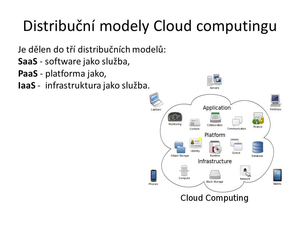 Distribuční modely Cloud computingu Je dělen do tří distribučních modelů: SaaS - software jako služba, PaaS - platforma jako, IaaS - infrastruktura jako služba.