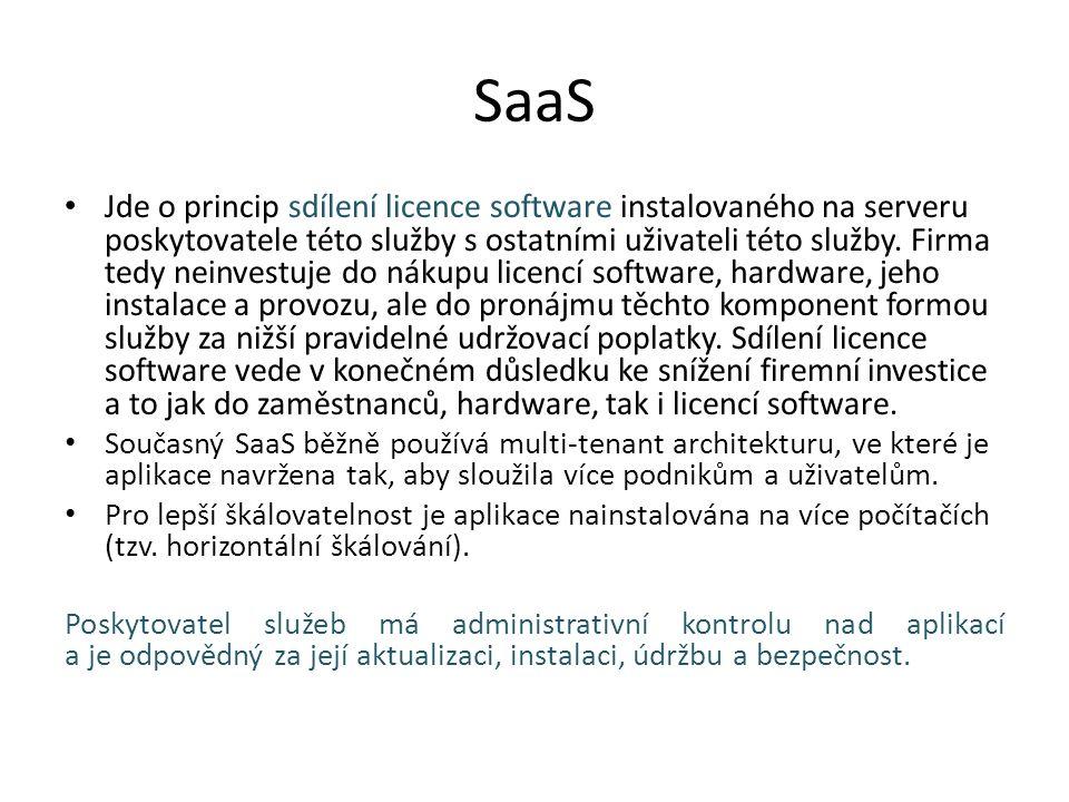 SaaS Jde o princip sdílení licence software instalovaného na serveru poskytovatele této služby s ostatními uživateli této služby.