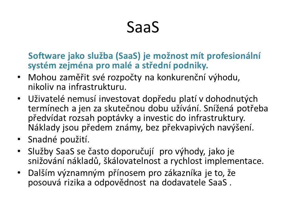 SaaS Software jako služba (SaaS) je možnost mít profesionální systém zejména pro malé a střední podniky.