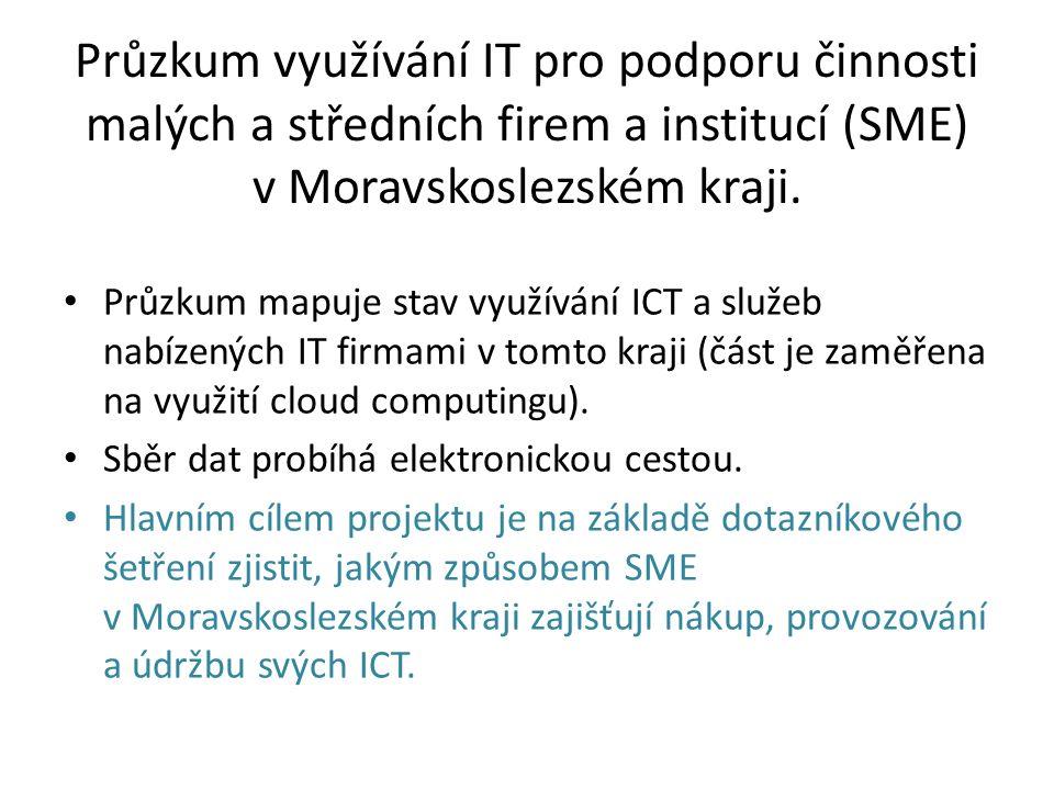 Průzkum využívání IT pro podporu činnosti malých a středních firem a institucí (SME) v Moravskoslezském kraji.