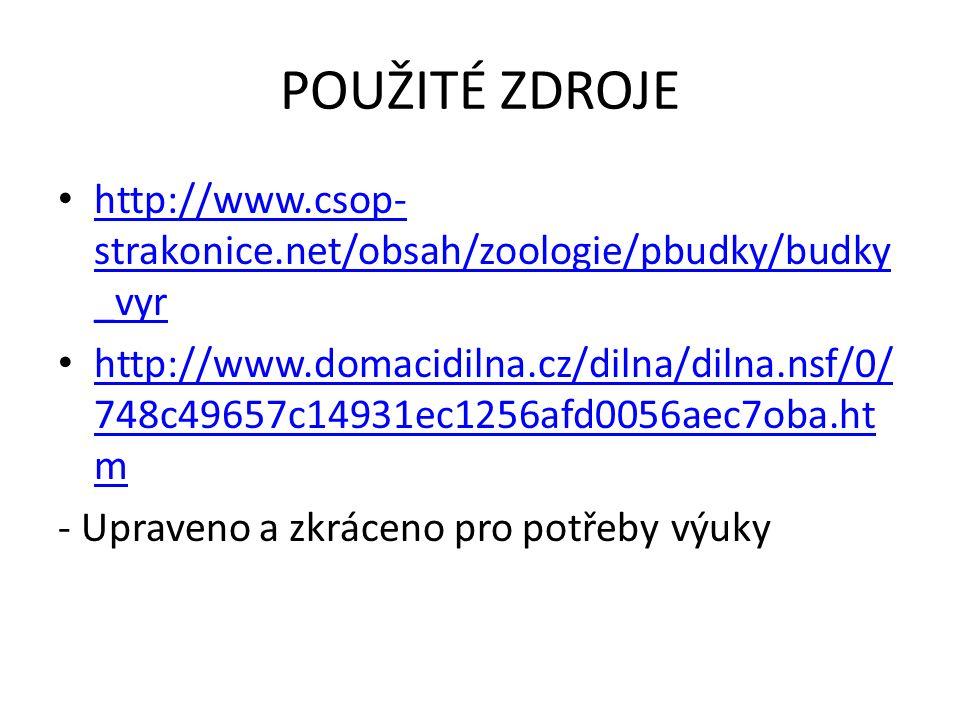 POUŽITÉ ZDROJE http://www.csop- strakonice.net/obsah/zoologie/pbudky/budky _vyr http://www.csop- strakonice.net/obsah/zoologie/pbudky/budky _vyr http: