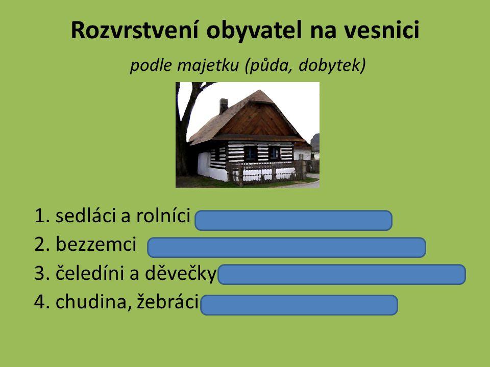 Podoba domů Zpočátku se staví z vepřovic (nepálené, sušené cihly) Střecha z došek (svazky svázané slámy), později šindele Podlaha – udusaná hlína Největší obytná místnost v domě – kuchyně - světnice