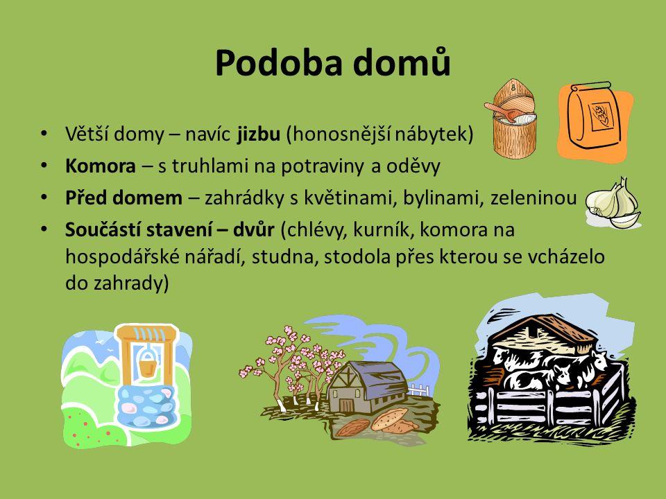 Podoba domů Větší domy – navíc jizbu (honosnější nábytek) Komora – s truhlami na potraviny a oděvy Před domem – zahrádky s květinami, bylinami, zeleni