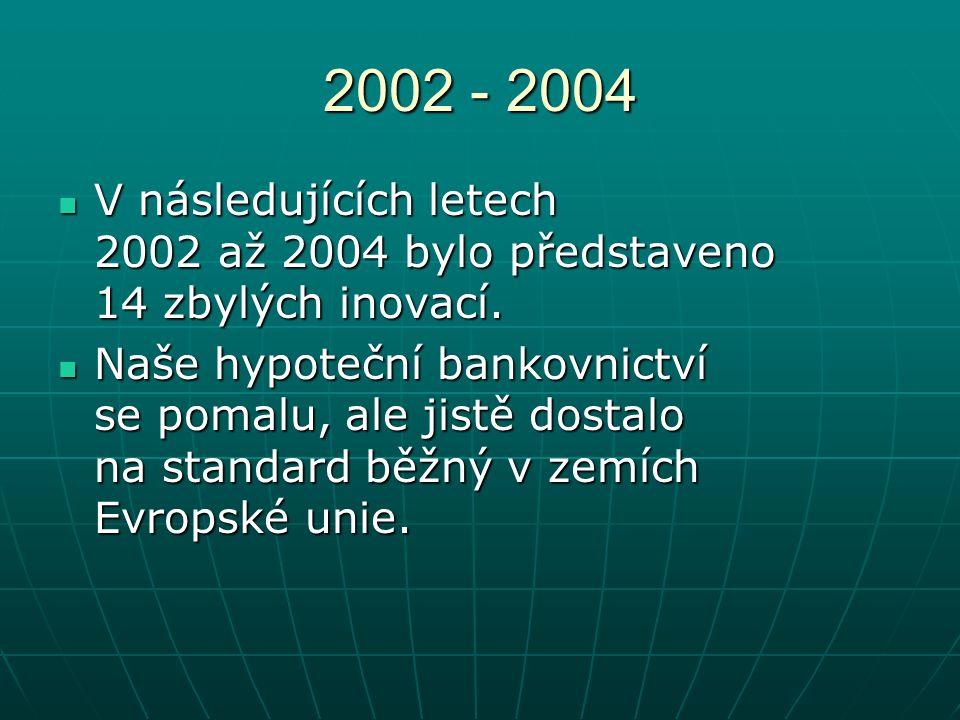 2002 - 2004 V následujících letech 2002 až 2004 bylo představeno 14 zbylých inovací.