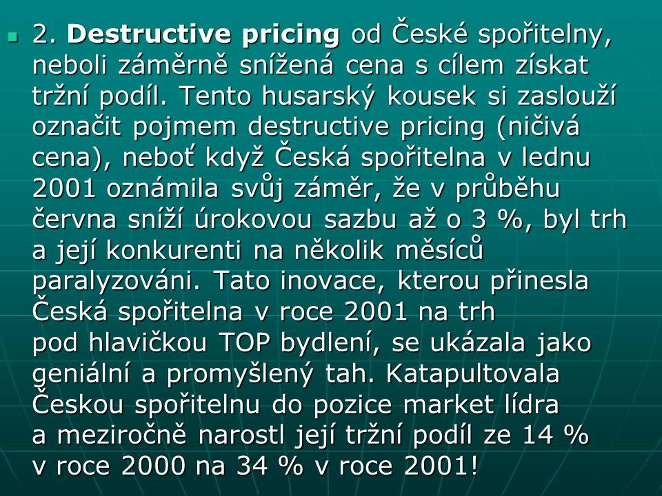 2. Destructive pricing od České spořitelny, neboli záměrně snížená cena s cílem získat tržní podíl.