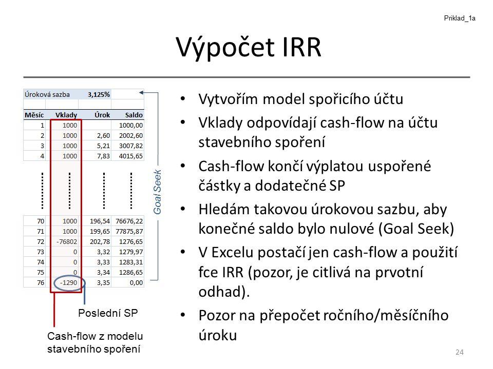 Výpočet IRR Vytvořím model spořicího účtu Vklady odpovídají cash-flow na účtu stavebního spoření Cash-flow končí výplatou uspořené částky a dodatečné SP Hledám takovou úrokovou sazbu, aby konečné saldo bylo nulové (Goal Seek) V Excelu postačí jen cash-flow a použití fce IRR (pozor, je citlivá na prvotní odhad).