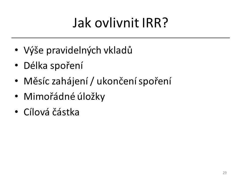 Jak ovlivnit IRR.