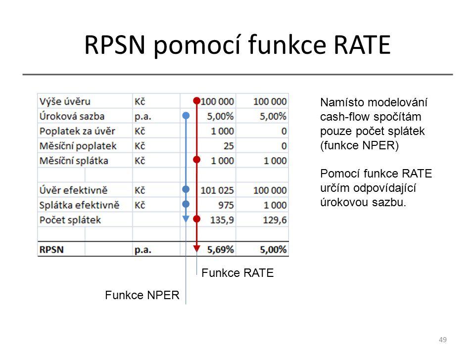 RPSN pomocí funkce RATE 49 Funkce RATE Funkce NPER Namísto modelování cash-flow spočítám pouze počet splátek (funkce NPER) Pomocí funkce RATE určím odpovídající úrokovou sazbu.