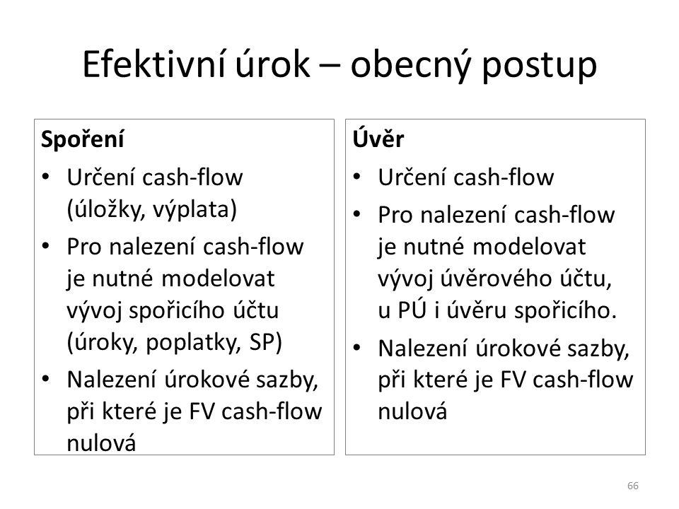 Efektivní úrok – obecný postup Spoření Určení cash-flow (úložky, výplata) Pro nalezení cash-flow je nutné modelovat vývoj spořicího účtu (úroky, poplatky, SP) Nalezení úrokové sazby, při které je FV cash-flow nulová Úvěr Určení cash-flow Pro nalezení cash-flow je nutné modelovat vývoj úvěrového účtu, u PÚ i úvěru spořicího.