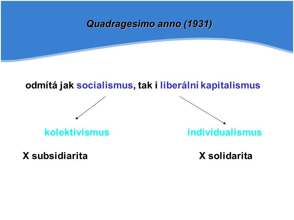 odmítá jak socialismus, tak i liberální kapitalismus kolektivismus individualismus X subsidiaritaX solidarita Quadragesimo anno (1931)