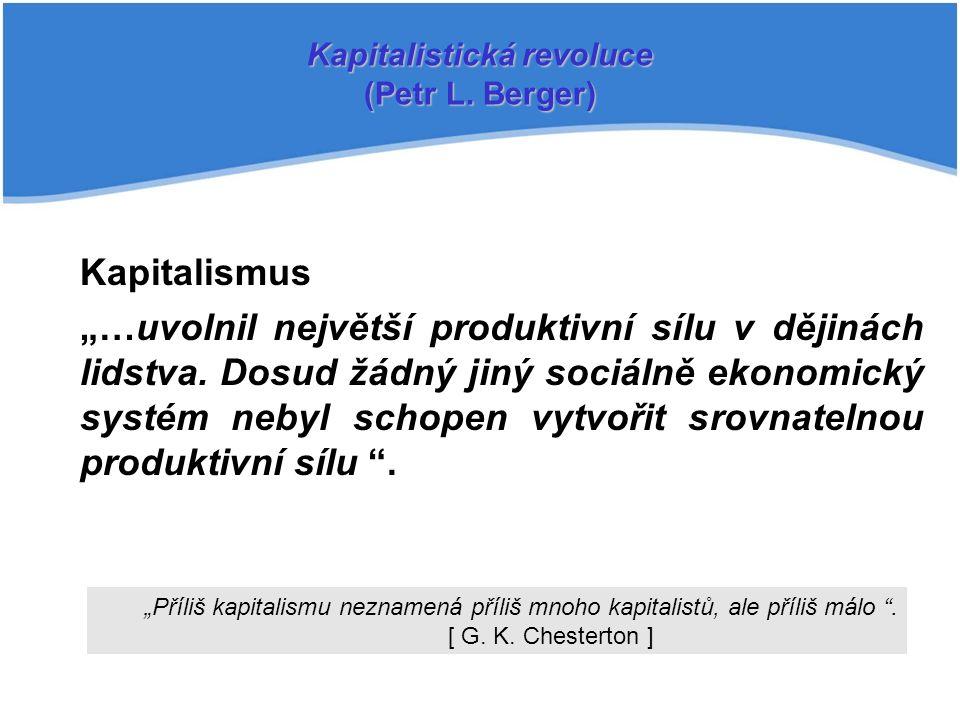 """Kapitalismus """"…uvolnil největší produktivní sílu v dějinách lidstva."""