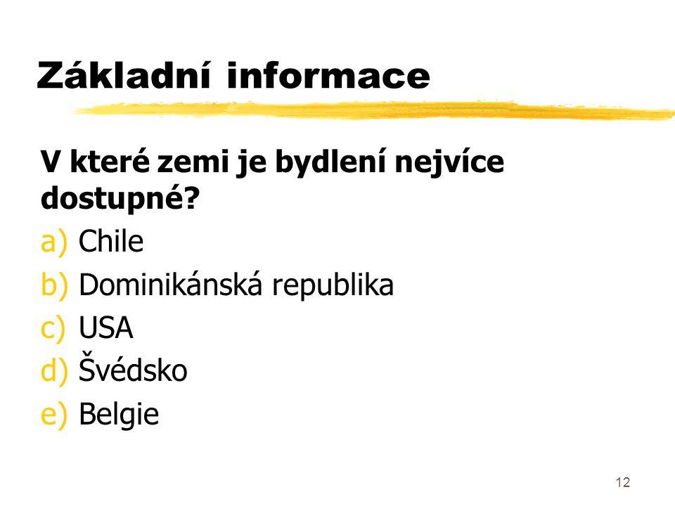 12 Základní informace V které zemi je bydlení nejvíce dostupné? a)Chile b)Dominikánská republika c)USA d)Švédsko e)Belgie