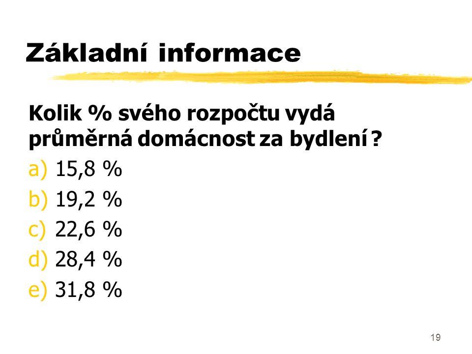19 Základní informace Kolik % svého rozpočtu vydá průměrná domácnost za bydlení ? a)15,8 % b)19,2 % c)22,6 % d)28,4 % e)31,8 %