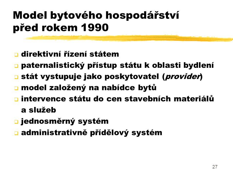 27 Model bytového hospodářství před rokem 1990  direktivní řízení státem  paternalistický přístup státu k oblasti bydlení  stát vystupuje jako posk