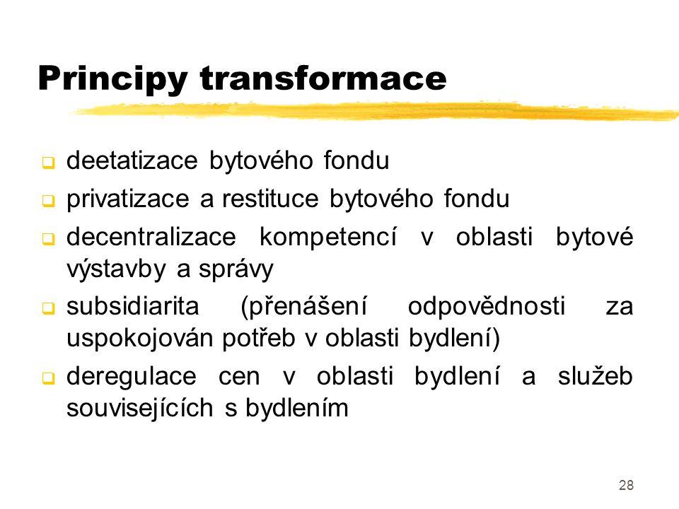28 Principy transformace  deetatizace bytového fondu  privatizace a restituce bytového fondu  decentralizace kompetencí v oblasti bytové výstavby a