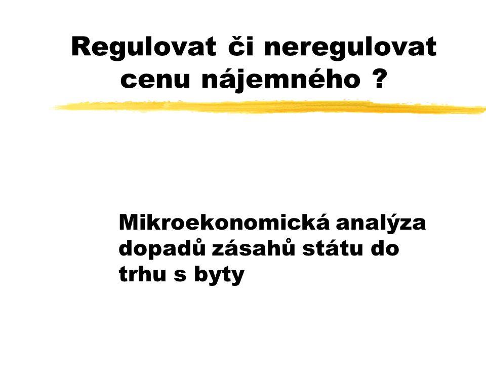 Regulovat či neregulovat cenu nájemného ? Mikroekonomická analýza dopadů zásahů státu do trhu s byty