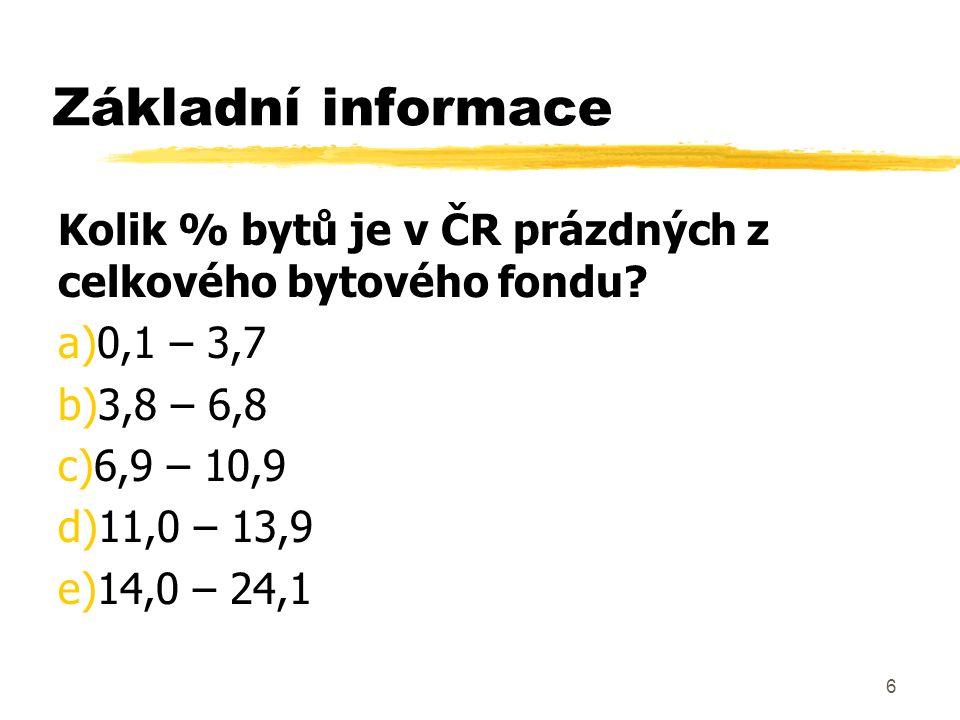 6 Základní informace Kolik % bytů je v ČR prázdných z celkového bytového fondu? a)0,1 – 3,7 b)3,8 – 6,8 c)6,9 – 10,9 d)11,0 – 13,9 e)14,0 – 24,1