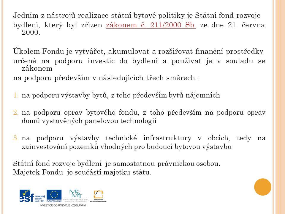 Jedním z nástrojů realizace státní bytové politiky je Státní fond rozvoje bydlení, který byl zřízen zákonem č.