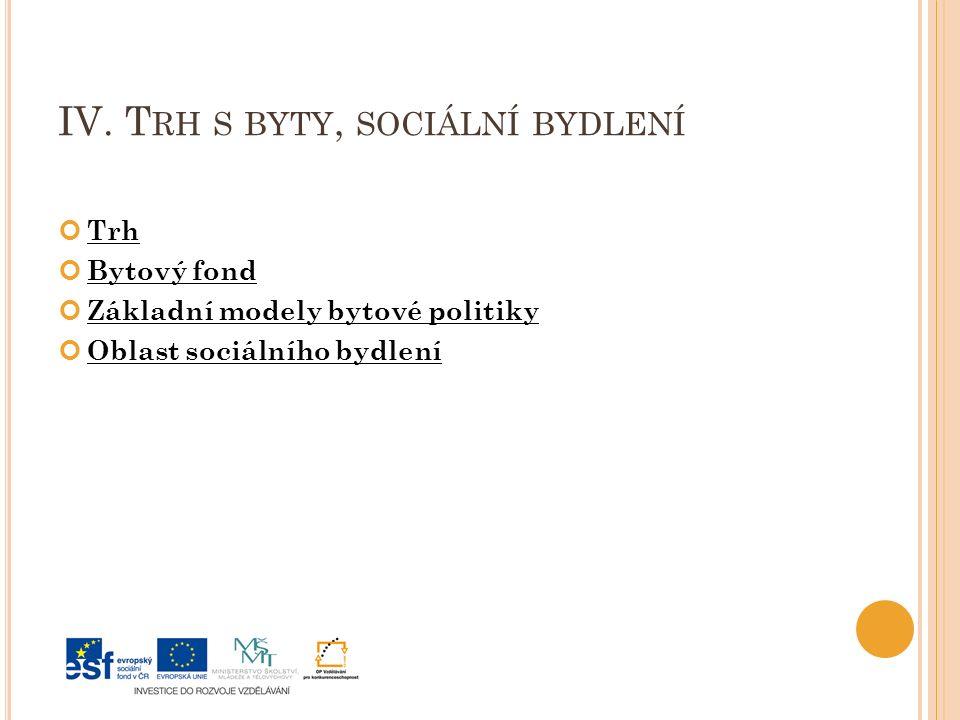 IV. T RH S BYTY, SOCIÁLNÍ BYDLENÍ Trh Bytový fond Základní modely bytové politiky Oblast sociálního bydlení
