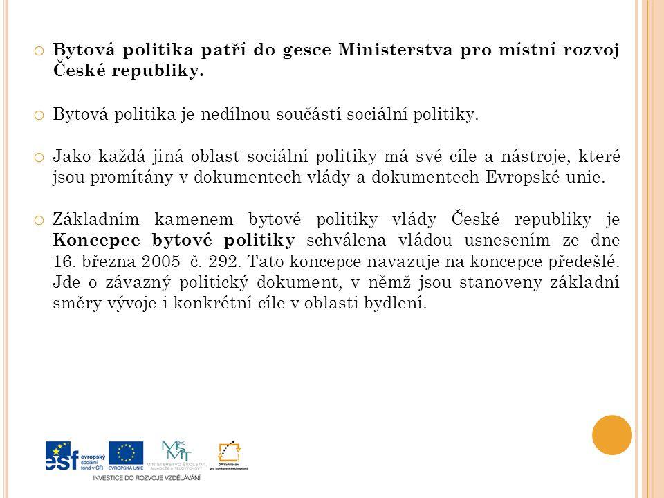 o Bytová politika patří do gesce Ministerstva pro místní rozvoj České republiky.