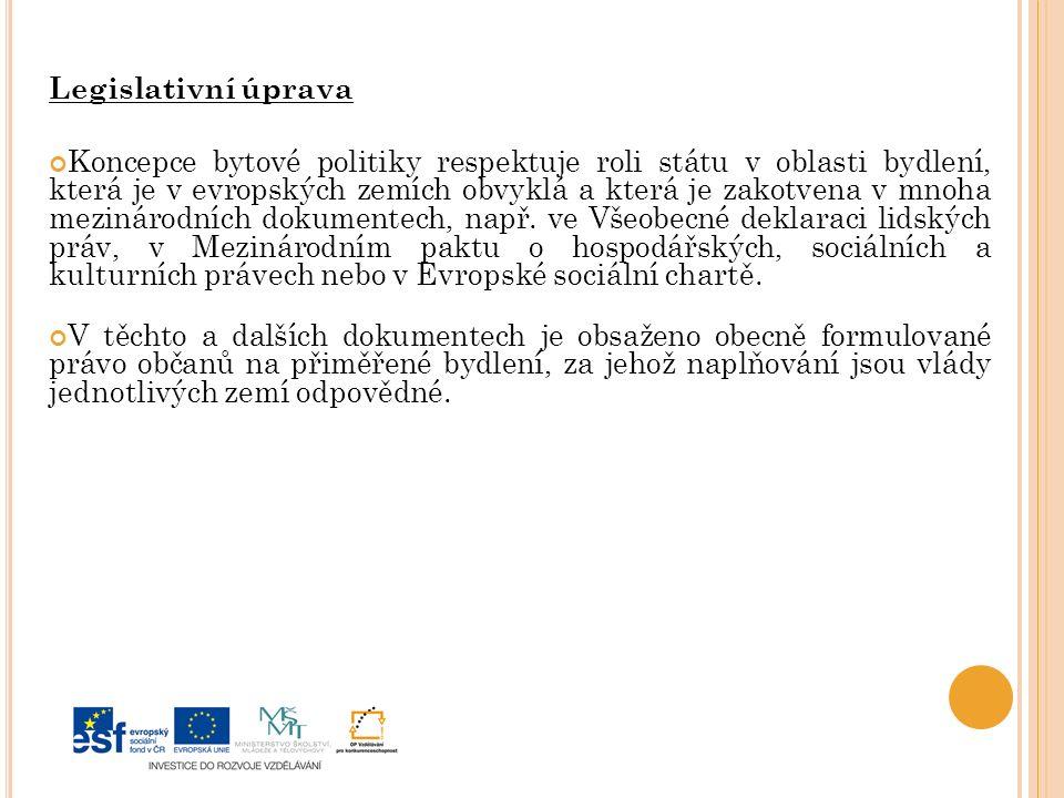Legislativní úprava Koncepce bytové politiky respektuje roli státu v oblasti bydlení, která je v evropských zemích obvyklá a která je zakotvena v mnoha mezinárodních dokumentech, např.