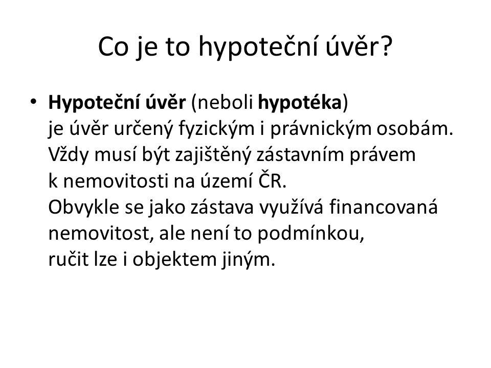 Co je to hypoteční úvěr.