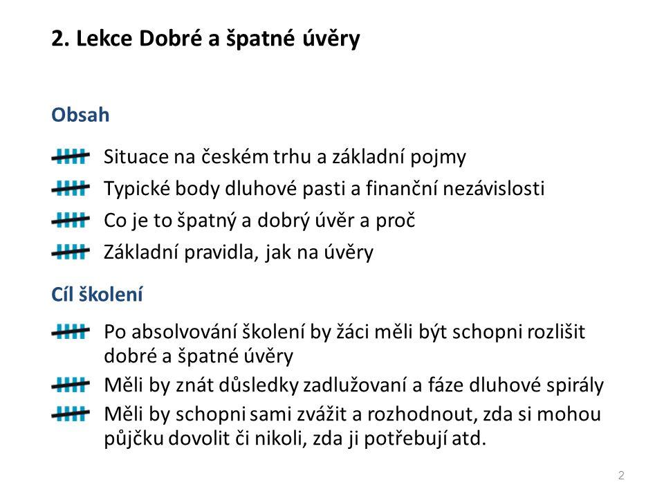 2. Lekce Dobré a špatné úvěry Situace na českém trhu a základní pojmy Typické body dluhové pasti a finanční nezávislosti Co je to špatný a dobrý úvěr