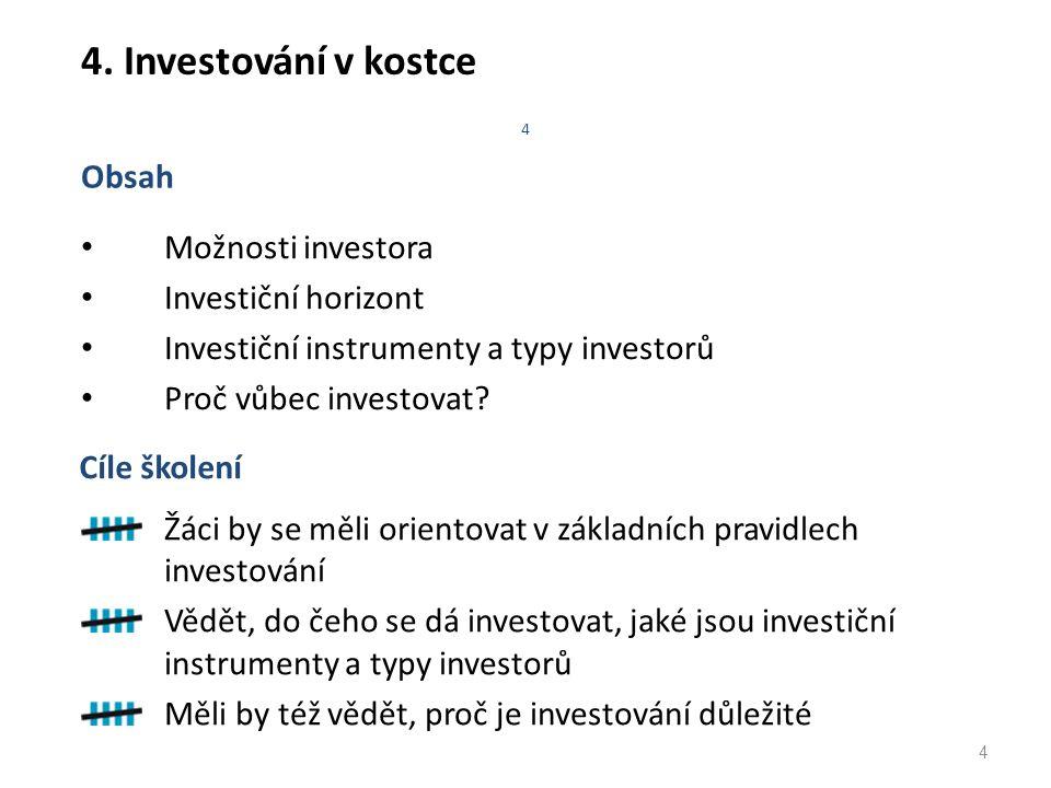 4 4. Investování v kostce Možnosti investora Investiční horizont Investiční instrumenty a typy investorů Proč vůbec investovat? Obsah 4 Žáci by se měl