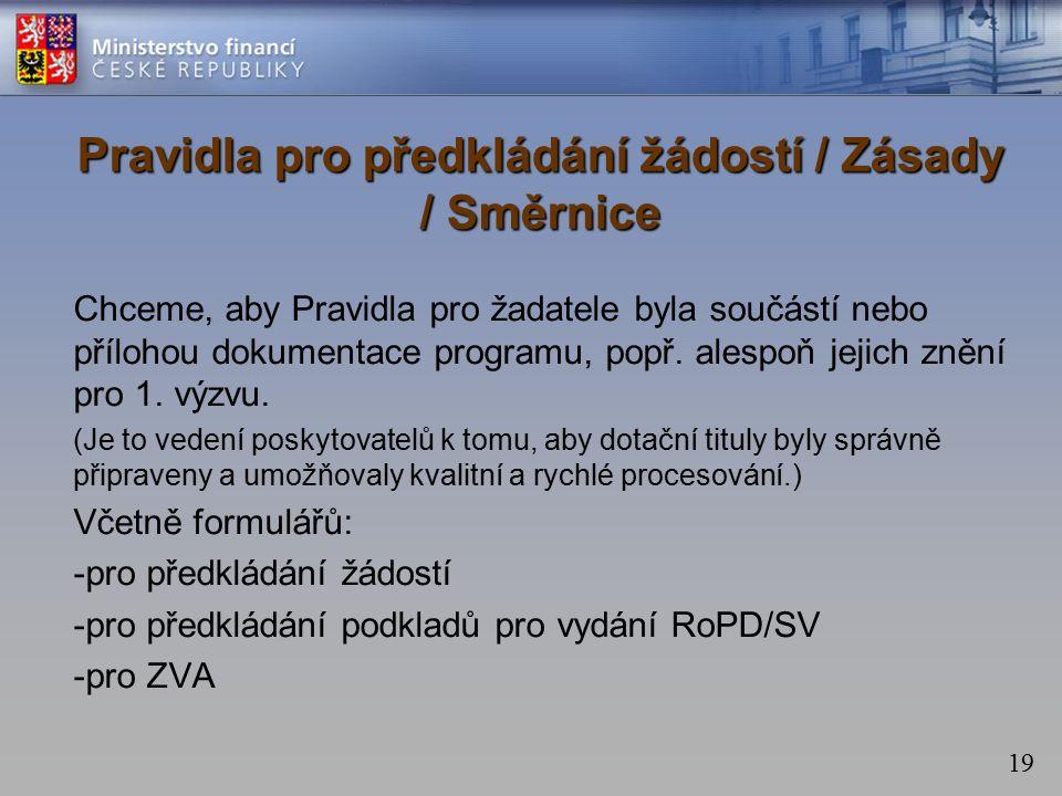 19 Pravidla pro předkládání žádostí / Zásady / Směrnice Chceme, aby Pravidla pro žadatele byla součástí nebo přílohou dokumentace programu, popř.