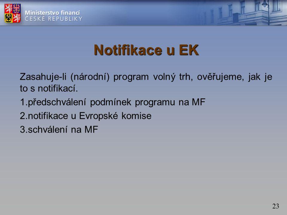 23 Notifikace u EK Zasahuje-li (národní) program volný trh, ověřujeme, jak je to s notifikací.