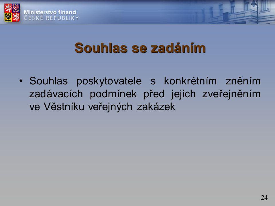 24 Souhlas se zadáním Souhlas poskytovatele s konkrétním zněním zadávacích podmínek před jejich zveřejněním ve Věstníku veřejných zakázek
