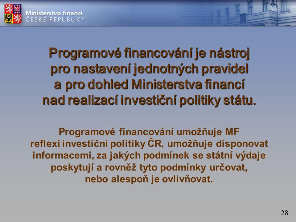 28 Programové financování je nástroj pro nastavení jednotných pravidel a pro dohled Ministerstva financí nad realizací investiční politiky státu.