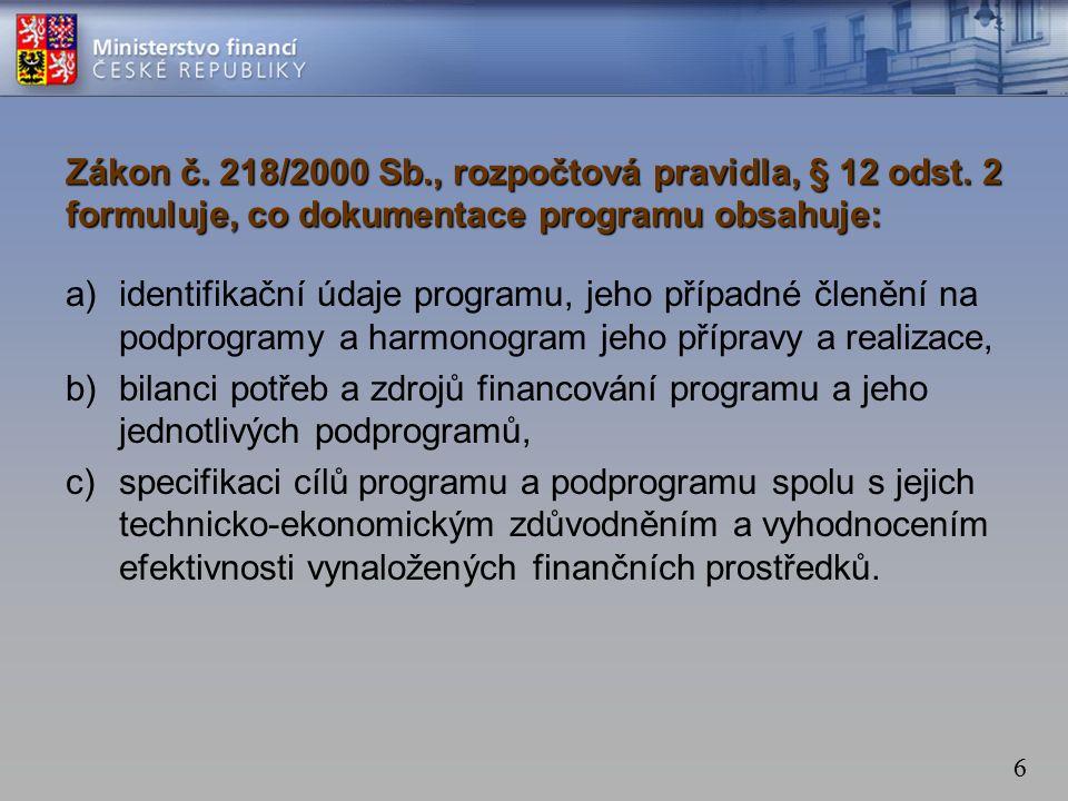 6 Zákon č. 218/2000 Sb., rozpočtová pravidla, § 12 odst.