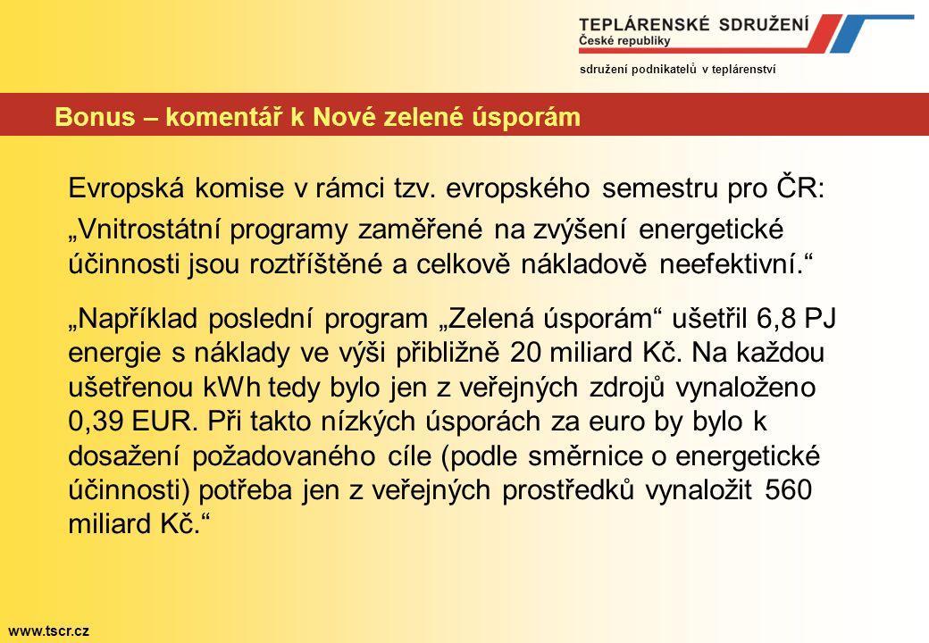 sdružení podnikatelů v teplárenství www.tscr.cz Bonus – komentář k Nové zelené úsporám Evropská komise v rámci tzv.