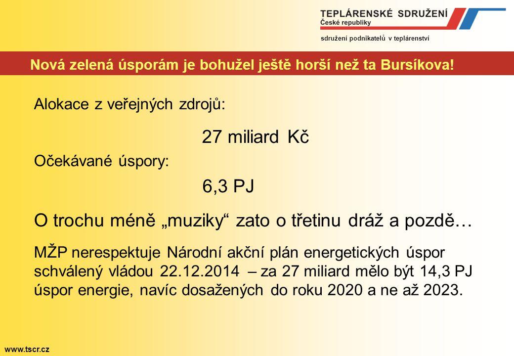 sdružení podnikatelů v teplárenství www.tscr.cz Nová zelená úsporám je bohužel ještě horší než ta Bursíkova.