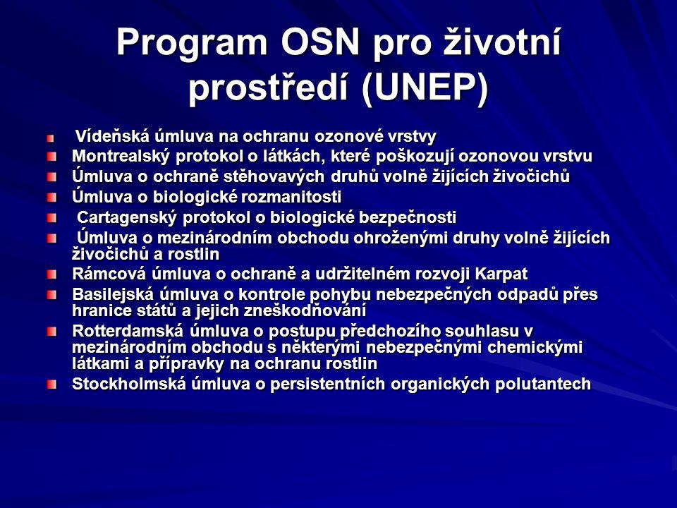 Program OSN pro životní prostředí (UNEP) Vídeňská úmluva na ochranu ozonové vrstvy Vídeňská úmluva na ochranu ozonové vrstvy Montrealský protokol o látkách, které poškozují ozonovou vrstvu Úmluva o ochraně stěhovavých druhů volně žijících živočichů Úmluva o biologické rozmanitosti Cartagenský protokol o biologické bezpečnosti Cartagenský protokol o biologické bezpečnosti Úmluva o mezinárodním obchodu ohroženými druhy volně žijících živočichů a rostlin Úmluva o mezinárodním obchodu ohroženými druhy volně žijících živočichů a rostlin Rámcová úmluva o ochraně a udržitelném rozvoji Karpat Basilejská úmluva o kontrole pohybu nebezpečných odpadů přes hranice států a jejich zneškodňování Rotterdamská úmluva o postupu předchozího souhlasu v mezinárodním obchodu s některými nebezpečnými chemickými látkami a přípravky na ochranu rostlin Stockholmská úmluva o persistentních organických polutantech Stockholmská úmluva o persistentních organických polutantech