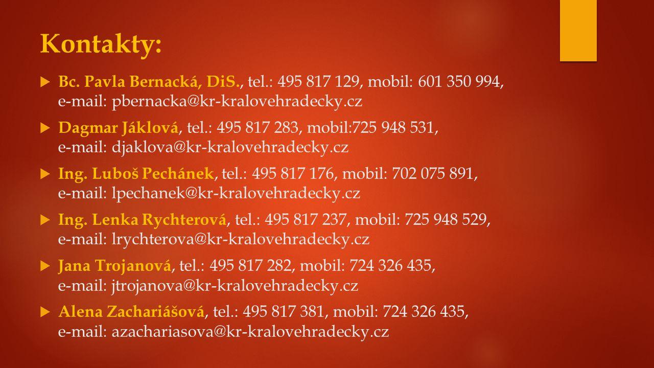 Kontakty:  Bc. Pavla Bernacká, DiS., tel.: 495 817 129, mobil: 601 350 994, e-mail: pbernacka@kr-kralovehradecky.cz  Dagmar Jáklová, tel.: 495 817 2