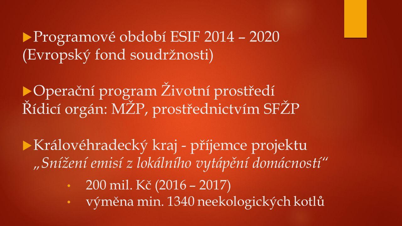 """ Programové období ESIF 2014 – 2020 (Evropský fond soudržnosti)  Operační program Životní prostředí Řídicí orgán: MŽP, prostřednictvím SFŽP  Královéhradecký kraj - příjemce projektu """"Snížení emisí z lokálního vytápění domácností 200 mil."""