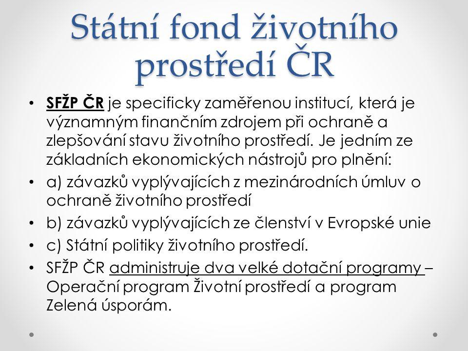 Státní fond životního prostředí ČR SFŽP ČR je specificky zaměřenou institucí, která je významným finančním zdrojem při ochraně a zlepšování stavu životního prostředí.