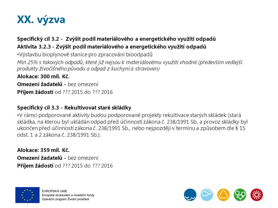 XX. výzva Specifický cíl 3.2 - Zvýšit podíl materiálového a energetického využití odpadů Aktivita 3.2.3 - Zvýšit podíl materiálového a energetického v